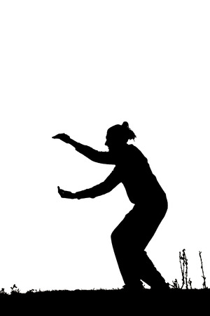 dancer male: Black silhouette of male dancer isolated on white Stock Photo