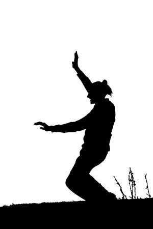 silueta masculina: Negro silueta del bailarín aislado en blanco