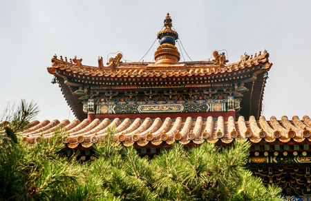 Traditional Chinese architectural roof, with animals. Immortal and beasts on the roof slope. Authentic China city, The yellow roof tiles with dragon Archivio Fotografico