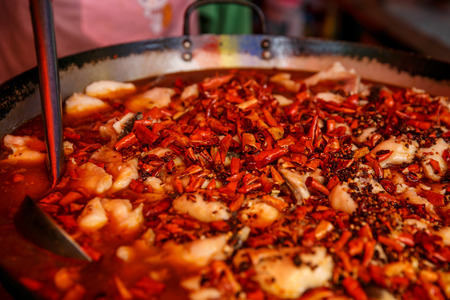 bejing: Spicy fast food simply found at local chinese street martket, Bejing, China Stock Photo