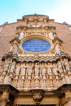 Sculpture of twelve saints on The Cathedral of Girona, in Catalonia, Spain. Stock Photo