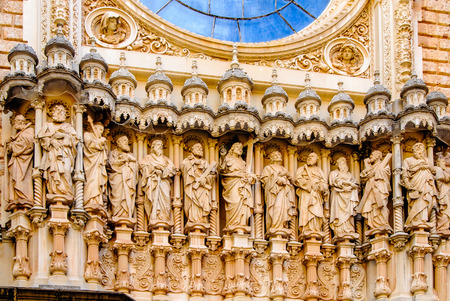 12 month old: Sculpture of twelve saints on The Cathedral of Girona, in Catalonia, Spain. Stock Photo