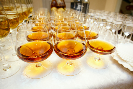 banket: glasses with cognac or brandy on event catering