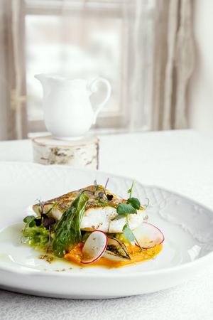 codfish: Fish dish - fillet of zander in plate on the table near window, served with tomato, radish and milk sauce