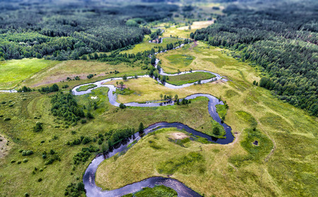The valley of the river, the top view from the drone Reklamní fotografie