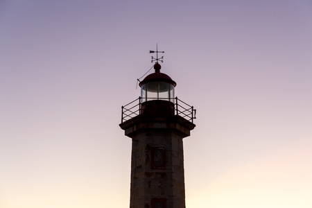 Closeup of the Top of a Lighthouse against sky.