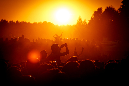 Silhouettes of People at Outdoor Music Festival