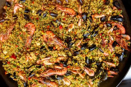 Seafood spanish paella, top view