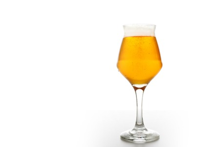 glass of beer isolated on white background. Stock Photo