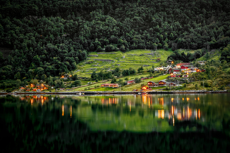 Beautiful Nature Norway natural landscape. Lake Shore, Coast