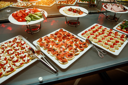 Banquet in the restaurant. Various delicacies, snacks at the gala event. Catering.