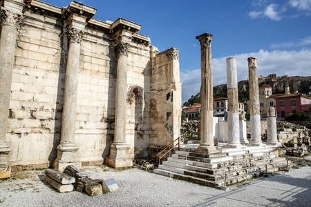 Greek pillars under Akropolis, Athens.