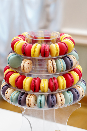 Colorful French Macarons formed as a pyramid 写真素材