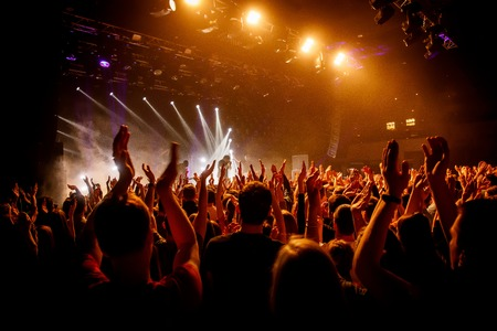 Crowd on music show, happy people with raised hands. Orange stage light Stock Photo