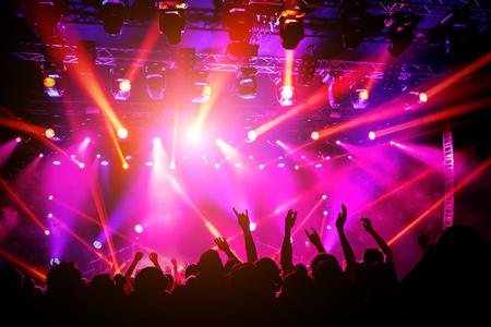 Les gens, la foule en concert. Lumière violette de la scène