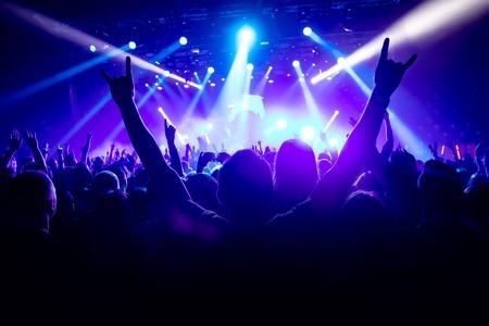 Sylwetka człowieka z podniesionymi rękami na koncercie muzycznym.