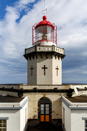 Head of old vintage lighthouse Imagens