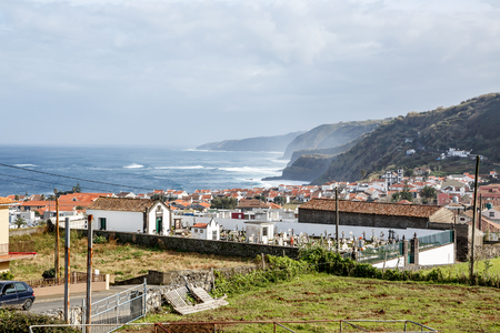 Small town on the ocean, Azores, Portugal