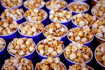 Many round popcorn cups. top view Reklamní fotografie - 122631661