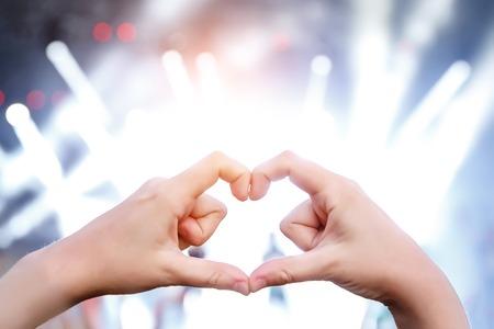 Heart sign, hands on music show, concert Reklamní fotografie - 122631663