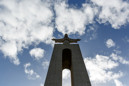 Statue of Christ in Lisbon, Sanctuary of Christ the King - Cristo Rei Reklamní fotografie - 123711643