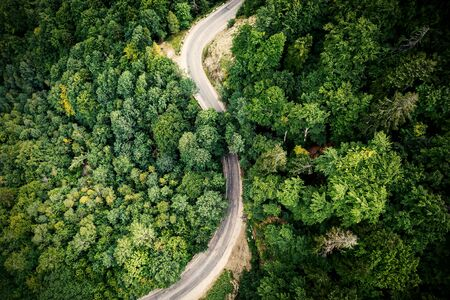 Winding mountain road, view from above Stock Photo