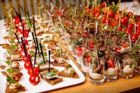 Close-up of snacks at an event. Smooth ranks, beautiful food 写真素材