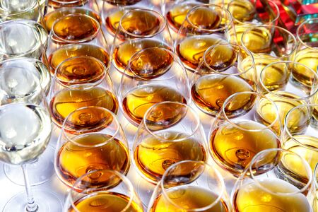 Elegant glasses with alcohol at the party. Top view