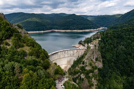 Large dam, view from above, from the quadrocopter