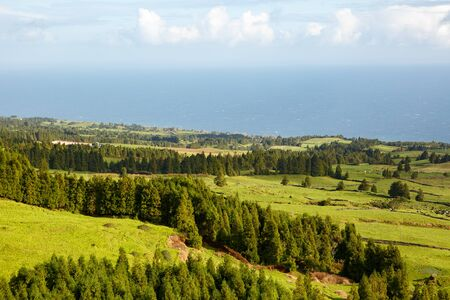 Small hills covered with a fresh green fields and meadows, falling to the level of Atlantic ocean