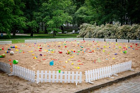 Summer Children's Toys on the sand, large sand box