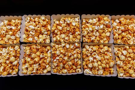 Sweet popcorn in boxes for easy movie watching