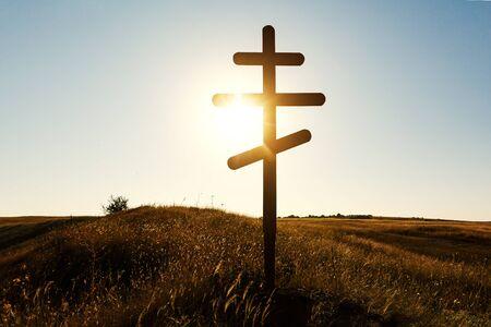 Silhouette of Christian Orthodox cross on sunset Reklamní fotografie