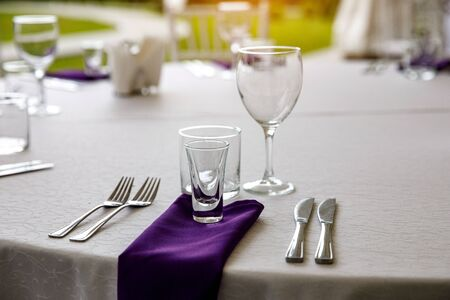 Clean tableware on the festive table
