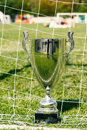 Soccer cup, trophy on the background of the field and grid