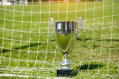 Soccer cup, trophy on the background of the field and grid 版權商用圖片 - 130789336