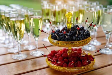 Plate with berries at a festive banquet