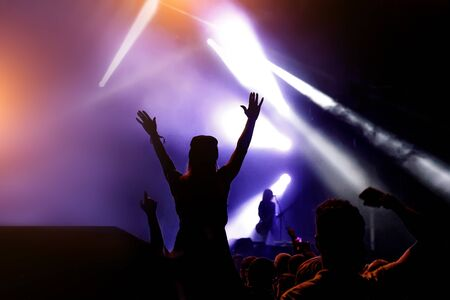 Silhouette of crowd concert, music fans on show
