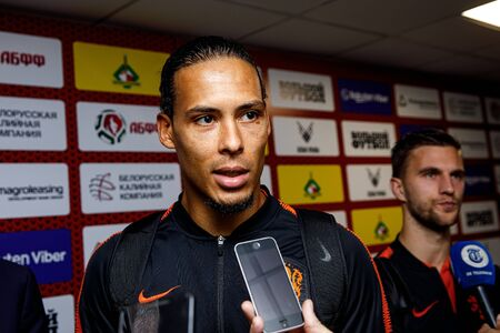 Minsk, Belarus - October 13, 2019 : UEFA European Qualifiers 2020. Virgil van Dijk answers questions from journalists. Portrait