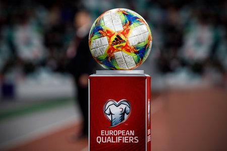 Minsk, Belarus - October 13, 2019 : UEFA European Qualifiers 2020. Official european qualifiers ball before the game between Netherlands and Belarus