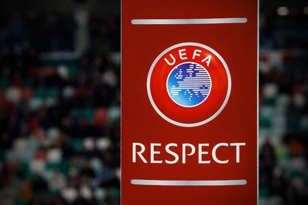 Minsk, Belarus - October 13, 2019 : UEFA European Qualifiers 2020. Official UEFA Respect logo before the game between Netherlands and Belarus