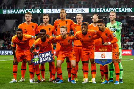 Minsk, Belarus - October 13, 2019 : UEFA European Qualifiers 2020. Netherlands team before match. Starting lineup