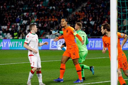 Minsk, Belarus - October 13, 2019 : UEFA European Qualifiers 2020. Virgil van Dijk in the match against Belarus