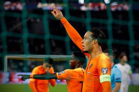 Minsk, Belarus - October 13, 2019 : UEFA European Qualifiers 2020. Virgil van Dijk in the match against Belarus. Directs defense