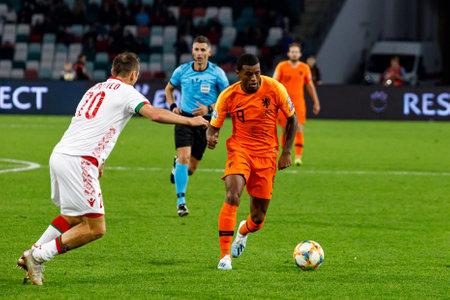 Minsk, Belarus - October 13, 2019 : UEFA European Qualifiers 2020. Georginio Wijnaldum in the match against Belarus Sajtókép