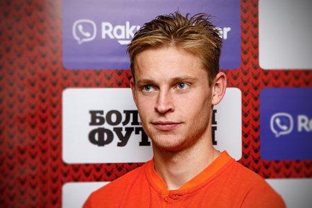 Minsk, Belarus - October 13, 2019 : UEFA European Qualifiers 2020. Frenkie de Jong answers questions from journalists. Portrait. Smile Sajtókép