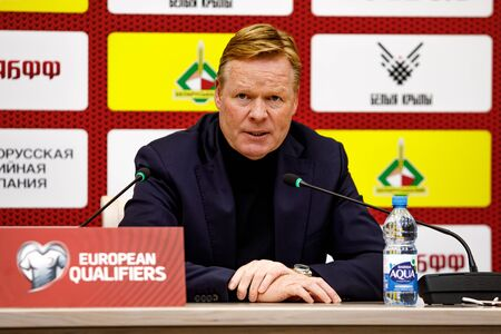 Minsk, Belarus - October 13, 2019 : UEFA European Qualifiers 2020. Netherlands coach Ronald Koeman answers questions from journalists at a press conference Sajtókép