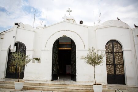 White church in Greece. Religion concept