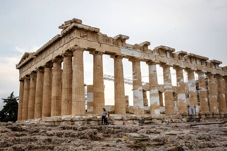 Athens, Greece - May 08, 2018. Reconstruction of Parthenon Temple in Acropolis