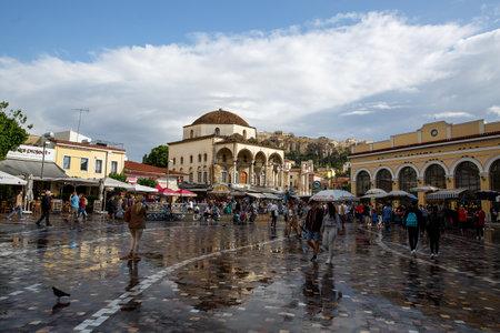 Athens, Greece - May 07, 2018. Monastiraki Square after the rain